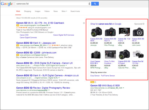 Google Shopping Training Leicester & East Midlands - Example Google Shopping Adverts in Search Results